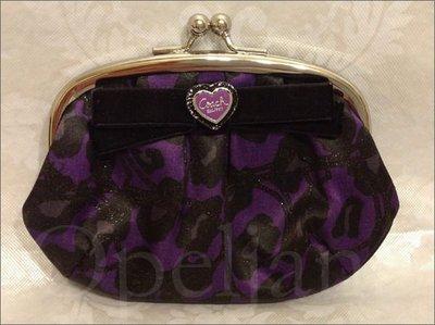 Coach Coin Purse 紫黑色花豹紋珠釦式零錢包手拿包╭*特價 SALE 免運費 愛Coach包包