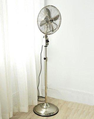 【台大復古家居】美國精品 14吋 銀色全金屬 純機械立扇 Telescoping Fan IMASU工業風Allaire