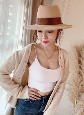 轉賣Miss Candice-全新-硬挺毛呢紳士帽 遮陽帽 造型帽(杏色+緞帶)