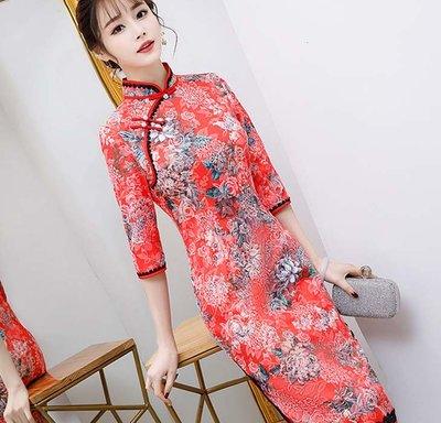 【賣旗袍的小丫頭】提花絲中長款 新款時尚蕾絲邊大碼氣質宴會演出修身日常旗袍RQG8063