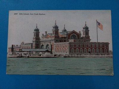 早期美國Ellis Island,New York Harbour 明信片