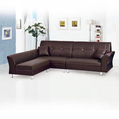 【優比傢俱生活館】19 歡樂購-雙子星咖啡色半黃牛皮L型獨立筒沙發-全組 KH36-1