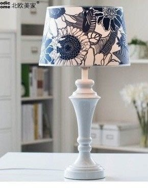 【優上精品】檯燈 宜家臺燈 簡約田園風格調光床頭臥室書房燈飾 藍向日葵(Z-P3205)