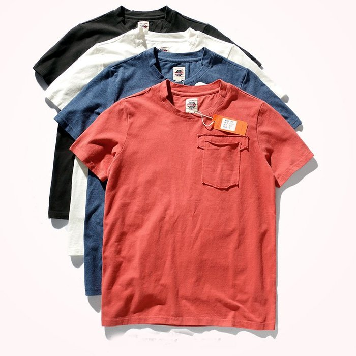 ☆Mr.☆日系街頭風格復古水洗口袋造型設計短袖T恤(4色)~預購+現貨