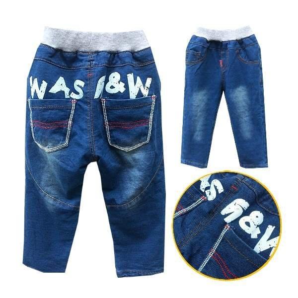 【班比納精品童裝】寶寶彈力後英字繡線口袋牛仔棉褲-藍【BM150730015】