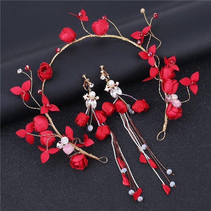 頭飾 髮飾 首飾 新娘紅色頭飾手工頭花配飾盤發發飾品新娘結婚禮服花朵頭飾發箍