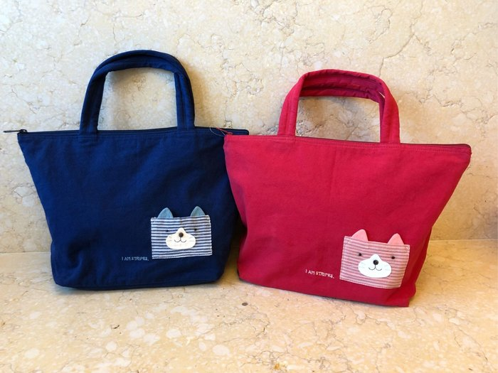 日本卡拉貓~簡約線條貓咪防水手提包