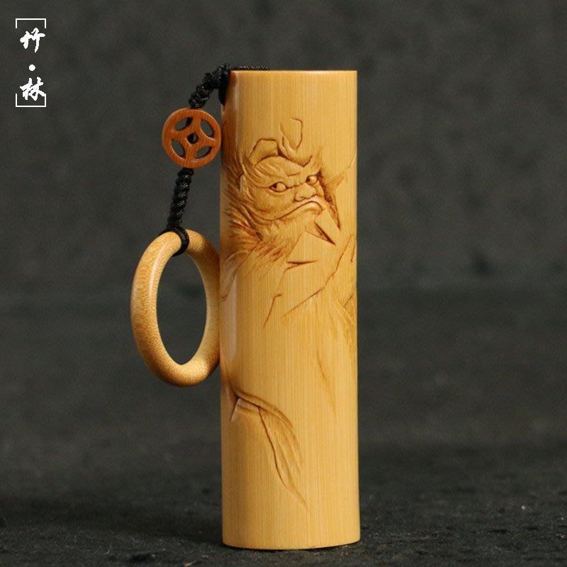 一物一拍精品名家書文純手工新款雕刻超粗實心竹手把件新扁圓形玉竹把玩 -zlyq468AK03