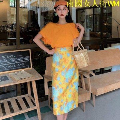 南國女人街WM個性后背鏤空短袖T恤2019女夏裝新款正韓高腰顯瘦半身裙兩件套裝