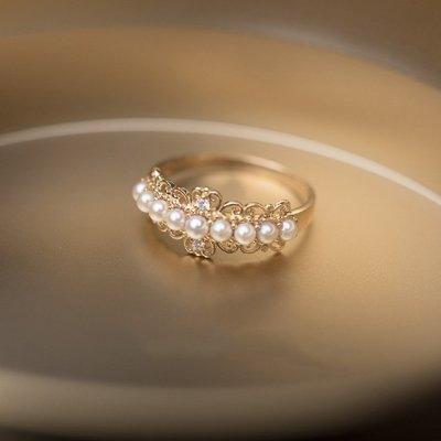 精緻life 塞壬之吻 復古蕾絲戒指 純銀925電鍍18k金戒指 復古排珍珠戒指