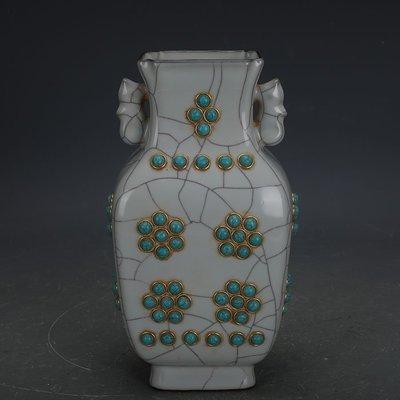 ㊣姥姥的寶藏㊣ 宋代官窯鑲金鑲珍珠石貓眼雙耳扁瓶  出土文物古瓷器古玩收藏擺件
