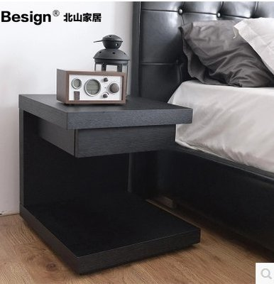 『格倫雅』現代簡約創意床頭櫃床邊櫃小邊幾黑白色烤漆^7737