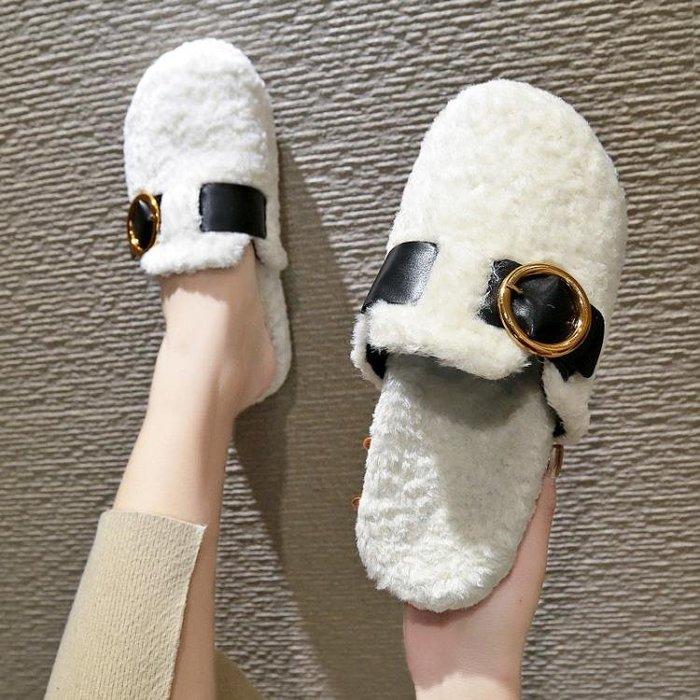 毛毛鞋女新款網紅包頭半拖2019新款時尚外穿厚底懶人拖鞋社會鞋女