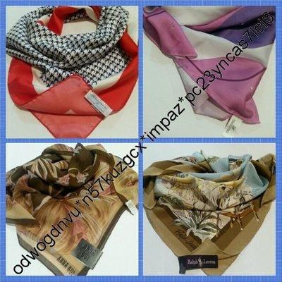 ♡Scarfs for Luxury經典名牌絲巾,圍巾Ralph Polo,Petronius 1926,Swarovski,Anna Sui100% 真品♡