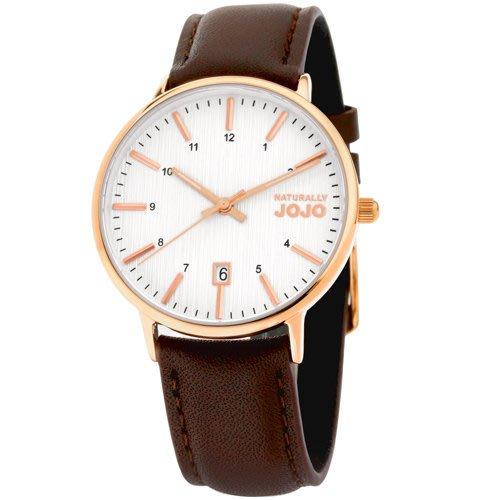 NATURALLY JOJO 皮革 腕錶~咖 36mm JO96898~80R