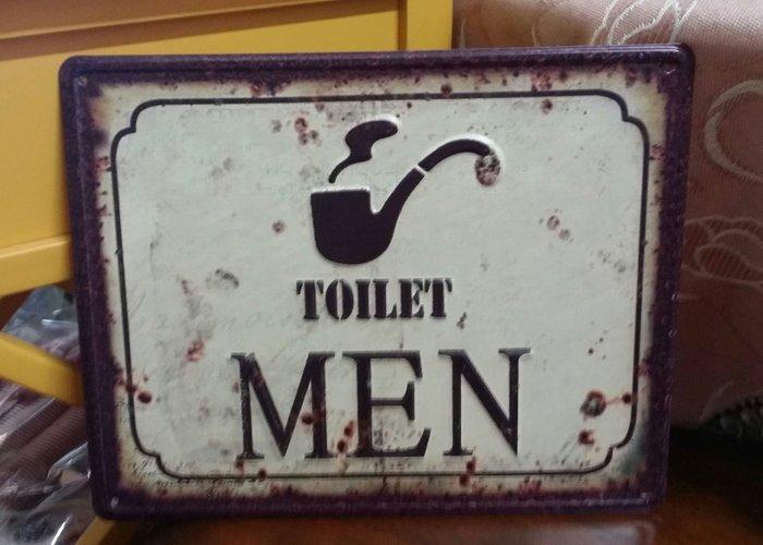 美生活館--- 全新 鄉村 工業 LOFT 風格 法國海報 鐵板畫 TOILET 男廁 女廁 掛飾 餐廳 民宿 店面-男