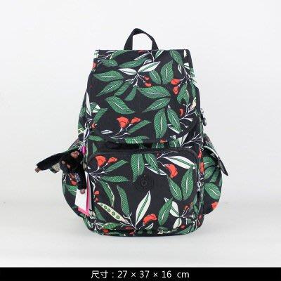 凱莉代購 2017專櫃新款Kipling 雙肩中號背包 K12147黑拉丁印花 (預購)