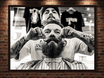 現代裝飾畫復古懷舊歐美紋身理髮師時髦前衛髮廊沙龍黑白