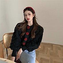 針織衫 淑女厚實針織外套 花朵釦飾暗釦麻花毛衣外套 艾爾莎【TAE8681】