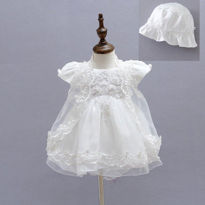【Bobo dress】現貨女寶寶蕾絲白紗披肩小禮服 公主袖洋裝公主裝 嬰兒花童婚紗彌月禮盒抓週團拍週歲寫真造型服