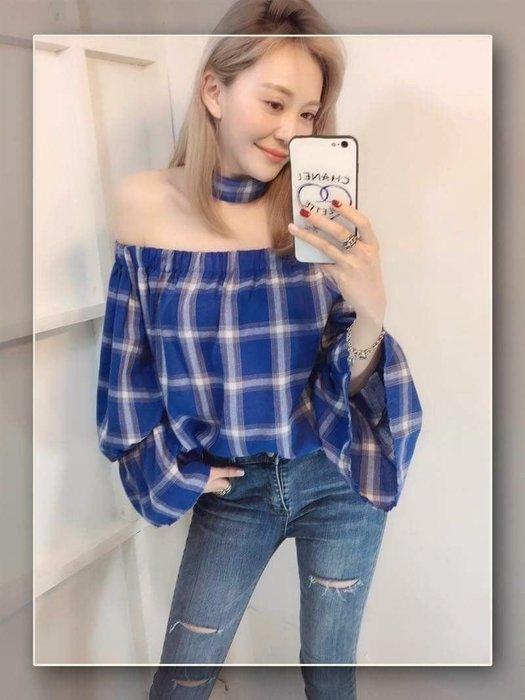️🌈正韓現貨️🌈 韓國人氣 🅝🅔🅦 微性感一字領格紋棉麻上衣