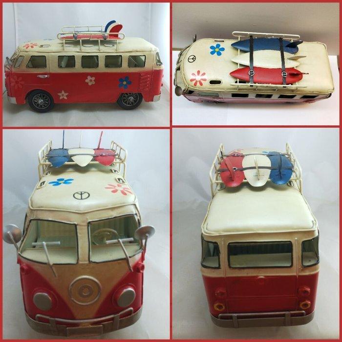 @3C 柑仔店@聖誕 交換 禮物 鐵製 衝浪板小巴士 紅 鐵皮 汽車 巴士 模型 家居飾品 懷舊 復古 歐式 英國鄉村