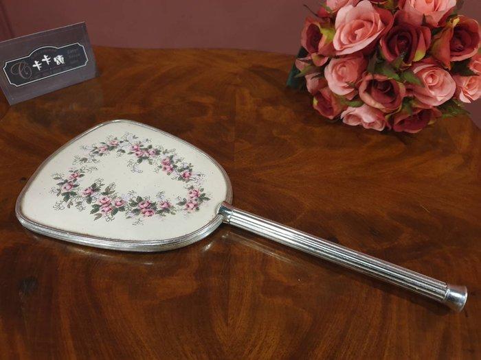 【卡卡頌  歐洲古董】法國老件   玫瑰  銀色  手拿鏡 仕女鏡    ss0526