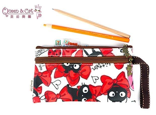 白鳥奈子精品舖 雙拉鍊筆袋 筆袋 萬用收納袋 多功能收納防水布包 台灣製造 Queen& Cat 白大蝴蝶結貓 滿千免運
