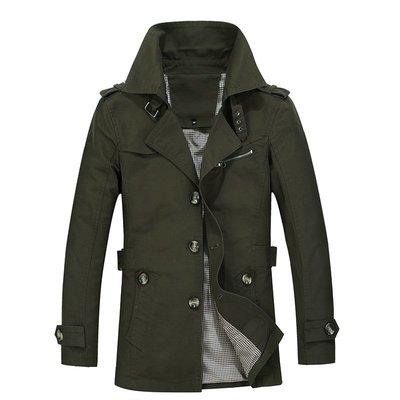 寶島小甜甜~Mid-length trench coat with lapel風衣翻領中長款外套卡其土黃