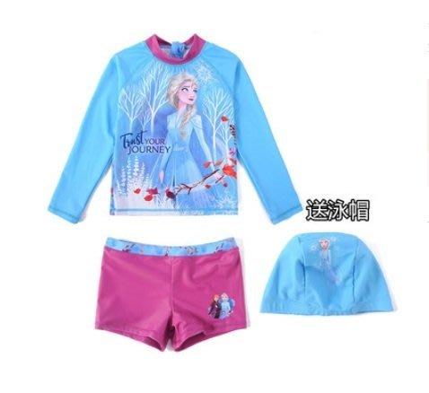 •*~ 辣媽咪衣飾小舖 ~*•❤泳裝系列 📣C070811韓版卡通艾沙圖案分體防曬溫泉泳裝 (附泳帽)