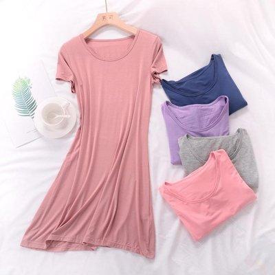 大碼睡裙莫代爾棉 大碼寬鬆長睡裙 女夏季彈力加大碼打底外穿睡衣家居服