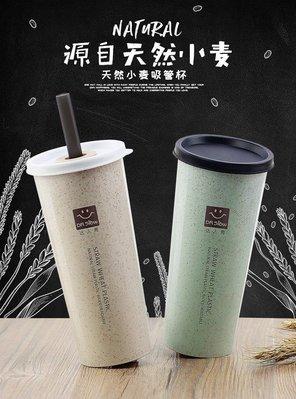 小麥 環保 水瓶 水杯 冷水壺 手提 小麥纖維 吸管 防漏 大杯口 .【RS789】