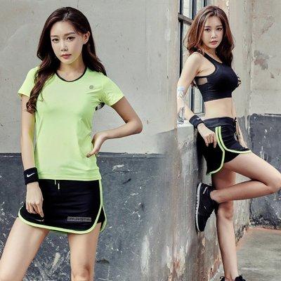 韓版瑜伽服套裝三件套夏季短袖文胸健身服顯瘦運動跑步褲裙女-yj1