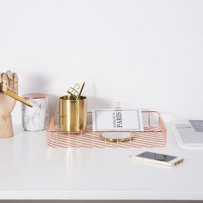 莉迪卡娜~鏤空網格長方形茶幾擺件創意北歐客廳茶幾鐵藝果籃收納盤拍攝道具