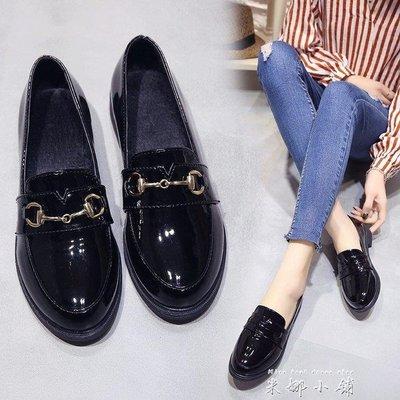 999黑色小皮鞋女夏季2018新款學生韓版中跟英倫學院風百搭平底女單鞋下單後請備註顏色尺寸