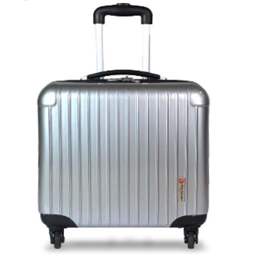 《葳爾登》 多功能多夾層17吋電腦拉桿行李箱超級輕硬殼旅行箱鏡面登機箱17吋8002銀色
