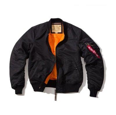 Alpha Industries 男生經典MA-1軍裝飛行夾克 ~傳統緊急橙色襯裡 Ma-1 飛行外套