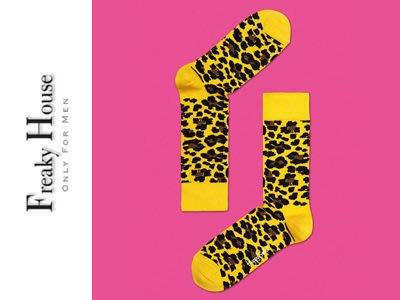 *~Freaky House~* 瑞典品牌Happy Socks Leapord 豹紋造型設計中長筒襪-黃色