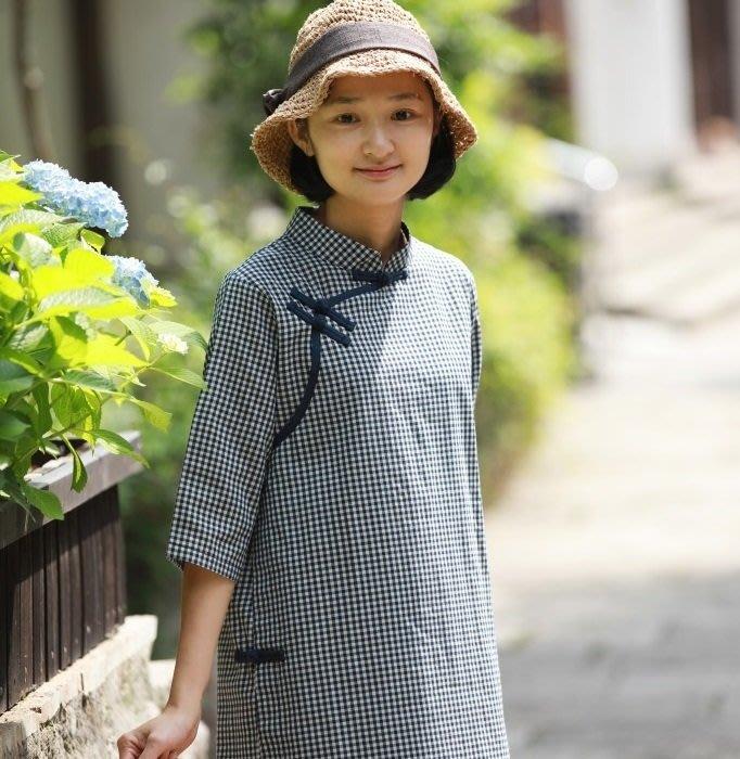 【子芸芳】夏裝 千鳥格子改良旗袍 復古文氣小清新連衣裙