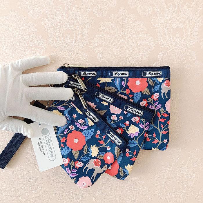 Lesportsac 孔雀花 降落傘防水 3455 三件組 附掛繩 拉鍊化妝包收納包 卡片 零錢 鑰匙 推薦 限量回饋