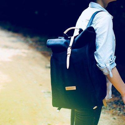機車旅行包【匠線】LINE ARTISANAL復古背包個性原創男女旅行日系帆布雙肩包