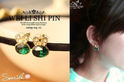 【20A87】SMILE-頃心春搭.精緻綠寶石水鑽兔子造型耳環