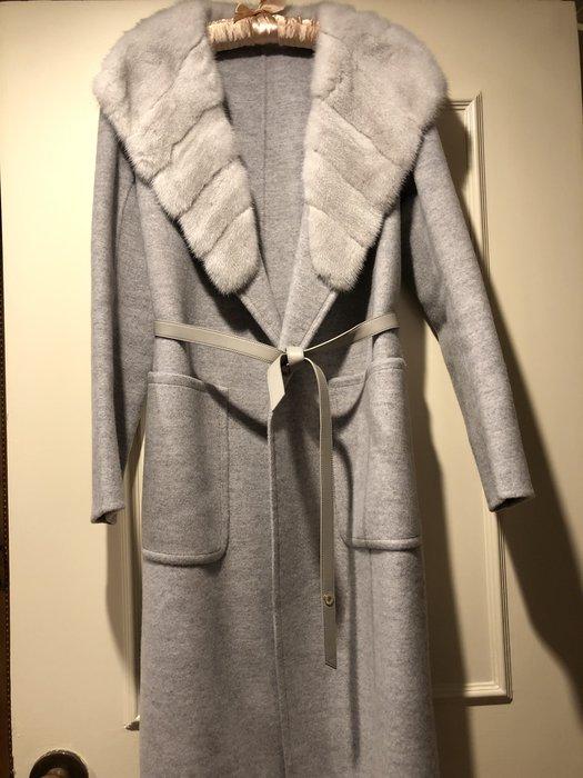 LP 莫蘭迪灰藍100%貂毛領➕20%cashmere長大衣