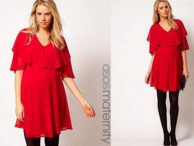 嫻嫻屋) 英國ASOS 甜美孕媽咪 紅色 V領寬鬆垂墜感五分袖雪紡洋裝 現貨UK8 孕婦裝 Maternity