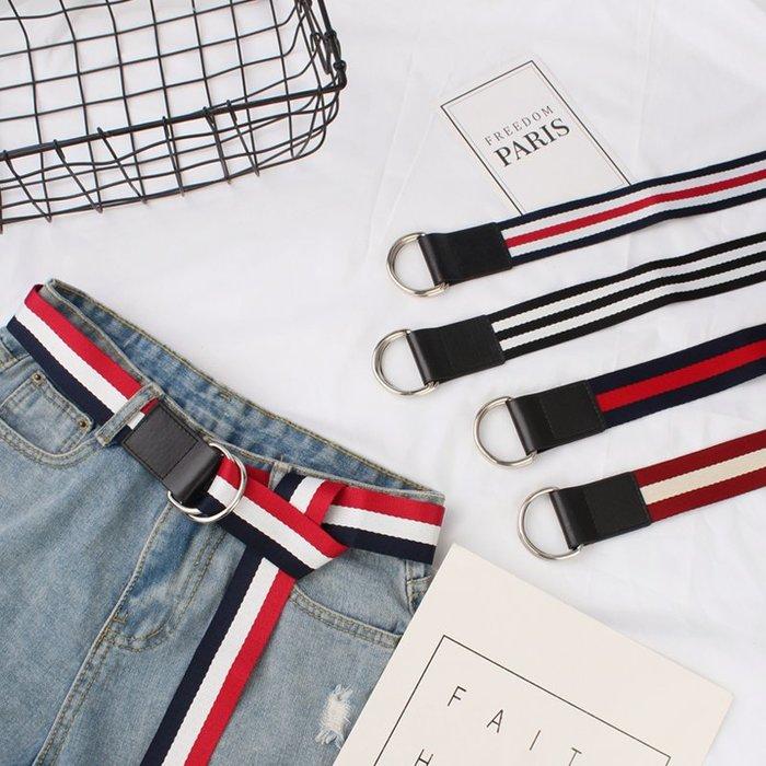 腰帶 褲帶 帆布褲腰帶女士條紋編織皮帶簡約百搭潮韓國韓版新款學生裝飾 皮帶 腰封 服飾配件