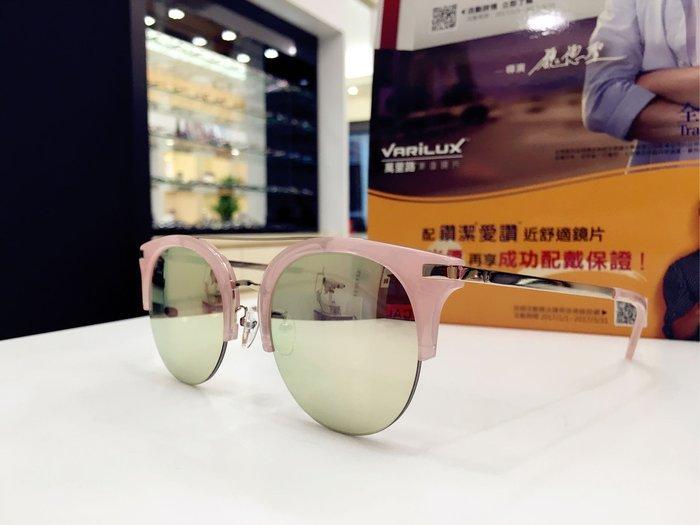 Paul Hueman 韓國熱銷品牌 氣質粉色貓眼眉框太陽眼鏡 水銀鏡面 PHS1106A 1106