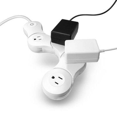 四孔短版:白色※台北快貨※美國原裝 Quirky Pivot Power 2.0 Junior 二代薄型可彎曲延長線