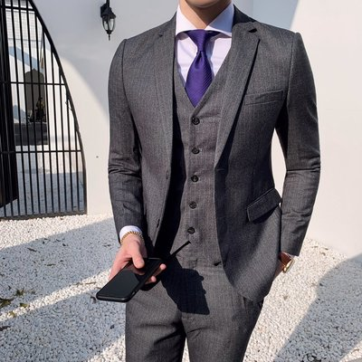 【MOZ潮流男装】英倫風男士時尚豎條紋顯瘦西服套裝三件套潮款兩粒扣西裝