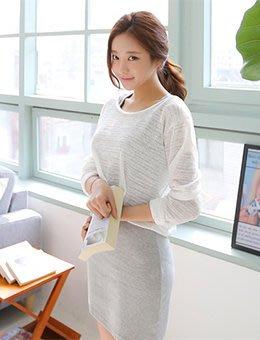 降價囉~全新正韓Cherrykoko官網購入兩件式白色長袖外罩衫+灰色細肩帶洋裝