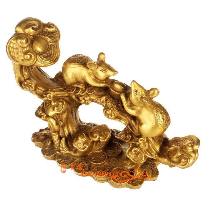 【福寶堂】開光風水純銅老鼠擺件雙鼠如意家居擺件銅器招財納福裝飾工藝品